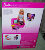 Barbie Living Room Chair TV & Kitten & Accessories Playset