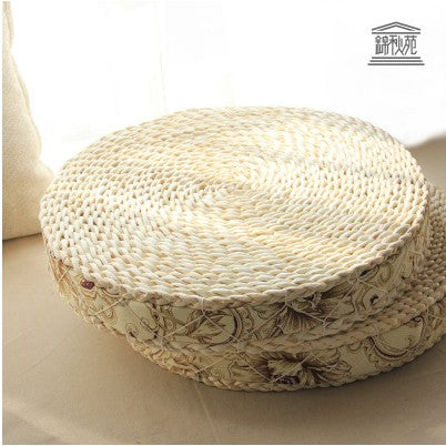 Natural Straw Round Pouf Tatami Cushion