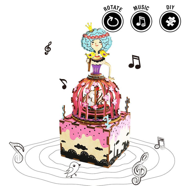 Rotatable DIY Princess 3D Puzzle Wooden Music Box