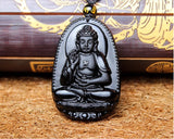 Black Obsidian Carved Buddha Lucky Pendant Necklace