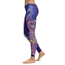 Purple Peacock Yoga Leggings