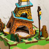 Rotatable DIY Eiffel Tower Wooden Music Box