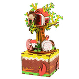 Rotatable DIY Tree House Wooden Music Box