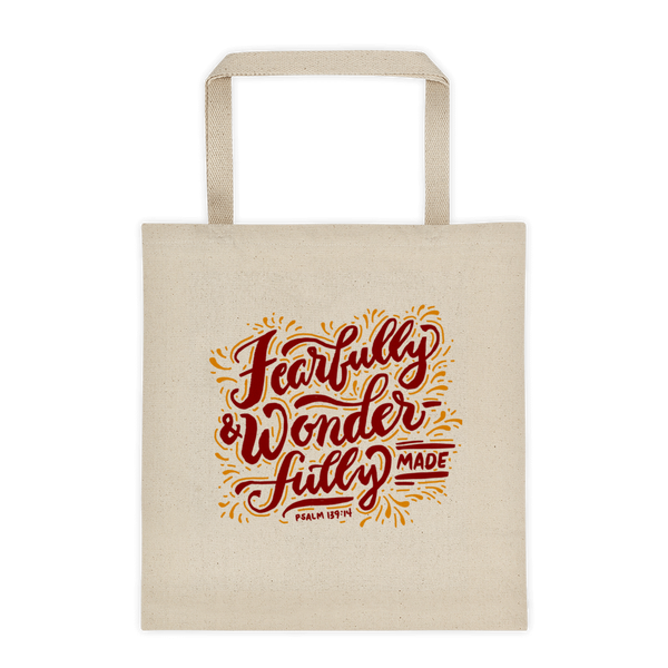 """Fearfully & Wonderfully Made"" Tote Bag"