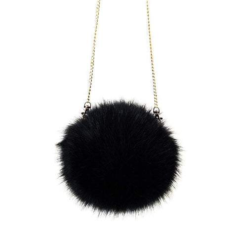 Faux-Fur Sophie Round Chain Shoulder Bag - My Beauty Cartel