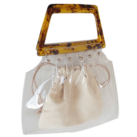 2-For-1 Transparent Handbag with Clasp Handle - My Beauty Cartel