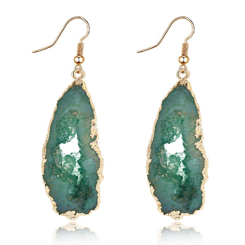 Gold-Trimmed Faux-Rock Droop Earrings - My Beauty Cartel