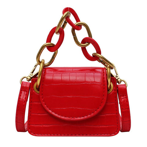 Faux-Croc Chain-Link Mini Bag - My Beauty Cartel