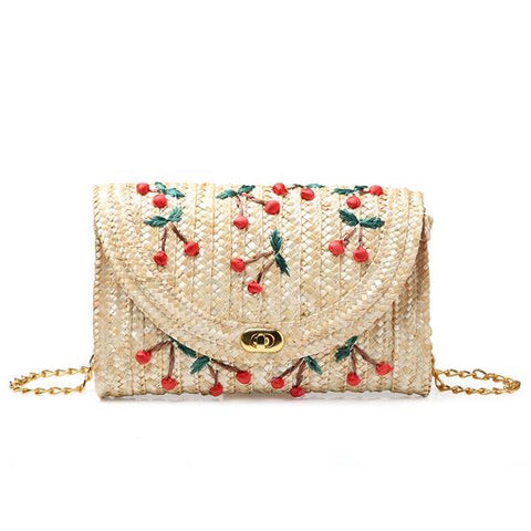 Cherry-Embroidered Beach Shoulder Bag - My Beauty Cartel