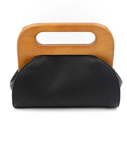 Wooden Clasp Leather Handbag - My Beauty Cartel