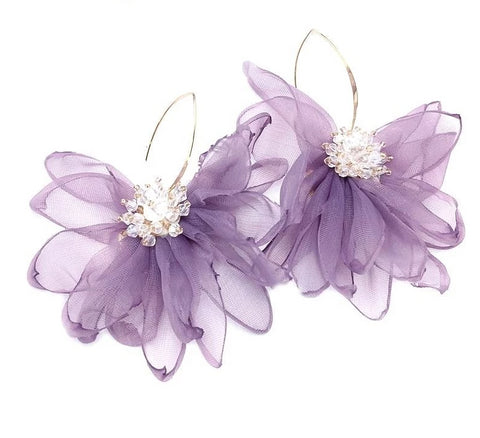 Chiffon Flower Earrings - My Beauty Cartel