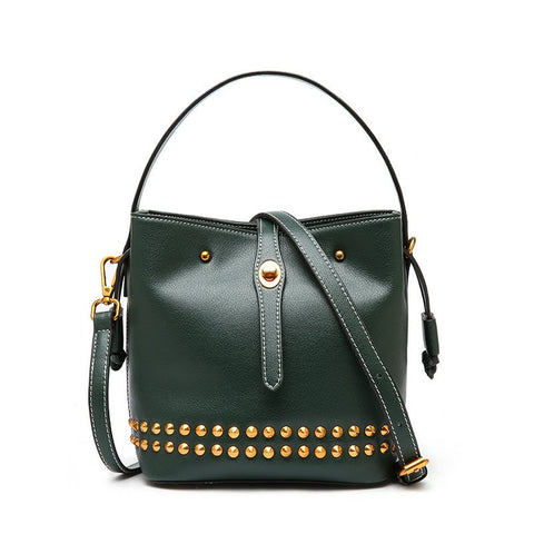 Genuine Leather Studded Joni Shoulder Bag - My Beauty Cartel