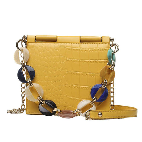 Faux-Croc Handbag with Jeweled-Chain Handle - My Beauty Cartel