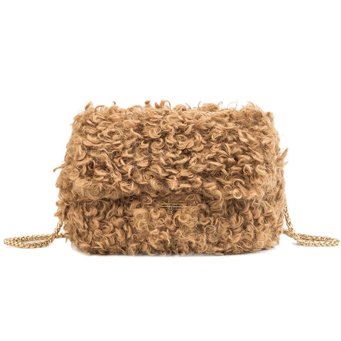 Faux-Fur Shoulder Bag with Gold Spaghetti Chain - My Beauty Cartel