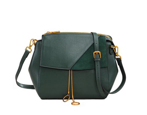 Leather & Suede L.E.S. Patchwork Messenger Bag - My Beauty Cartel