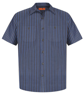 Red Kap® Long Size, Short Sleeve Striped Industrial Work Shirt. CS20LONG