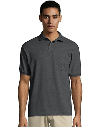 Hanes Men's Cotton-Blend EcoSmart® Jersey Polo with Pocket
