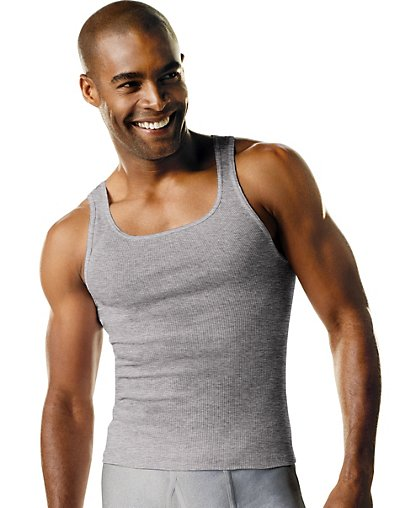 Hanes Men's TAGLESS® Ribbed A-Shirt 4-Pack