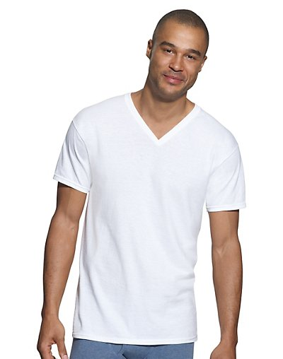 Hanes Classics Men's Traditional Fit ComfortSoft® TAGLESS® V-Neck Undershirt 2X-4X 3-Pack