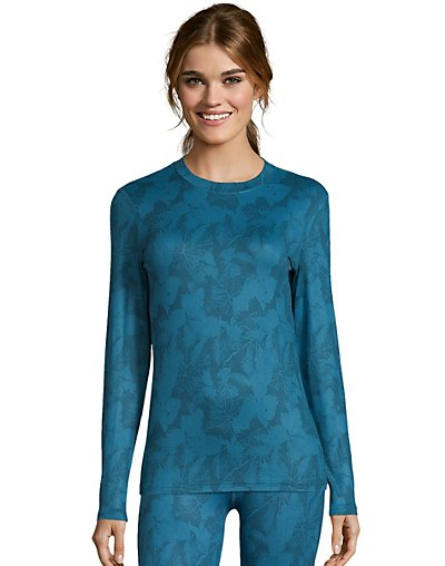 Hanes Women's Print 4-Way Stretch Thermal Crewneck
