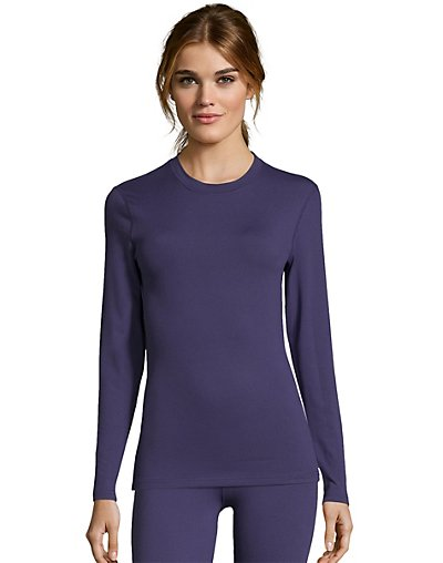 Hanes Women's Solid 4-Way Stretch Thermal Crewneck