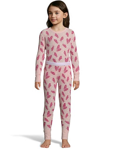 Hanes Girls' Print Waffle Knit Thermal Set