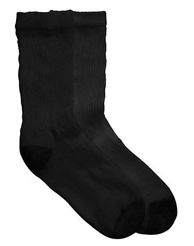 Hanes Cushioned Women's Crew Athletic Socks Black Extended Size 10-Pack