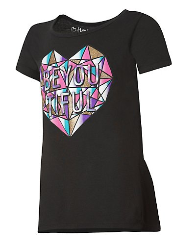 Hanes Girls' Be Youtiful Graphic Peplum Tee