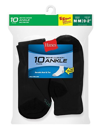 Hanes Boys' Ankle EZ Sort® Socks 10-Pack