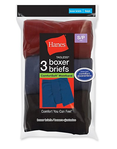 Hanes Boys' ComfortSoft® Dyed Boxer Briefs 3-Pack