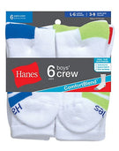 Hanes Boys Crew ComfortBlend® Assorted White Socks 6-Pack