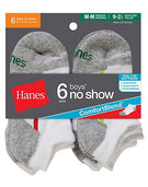 Hanes Boys No-Show ComfortBlend® Assorted White Socks 6-Pack