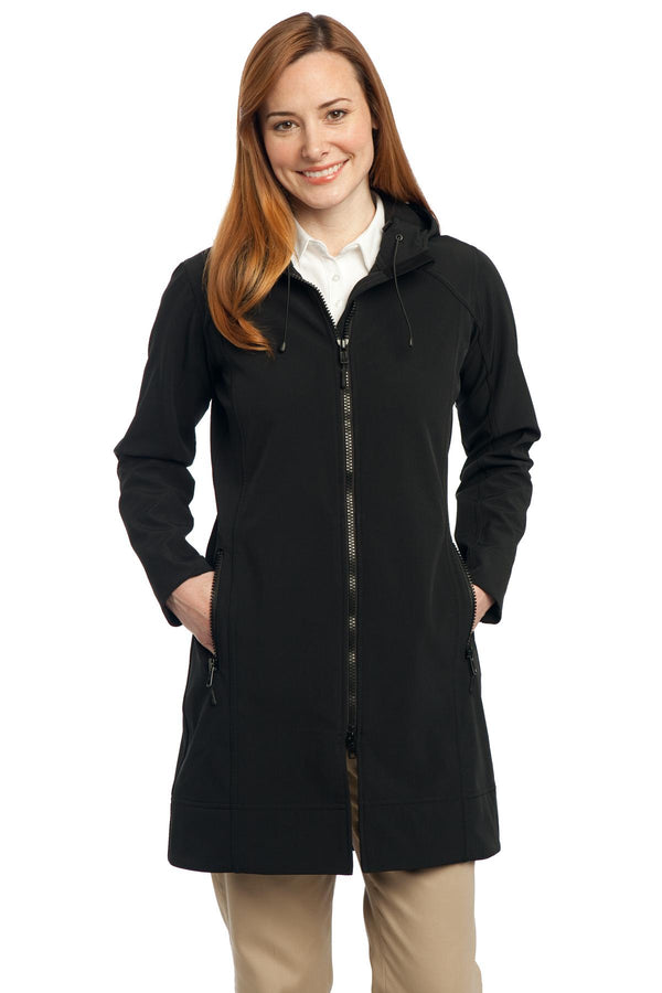 Port Authority® Ladies Long Textured Hooded Soft Shell Jacket. L306