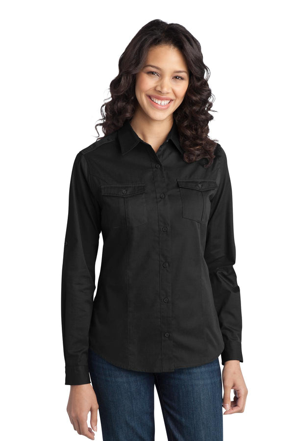 Port Authority® Ladies Stain-Release Roll Sleeve Twill Shirt. L649