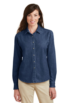 Port & Company® - Ladies Long Sleeve Value Denim Shirt.  LSP10
