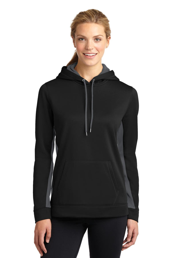 Sport-Tek® Ladies Sport-Wick® Fleece Colorblock Hooded Pullover. LST235