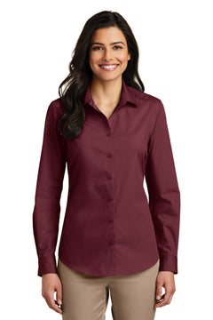 port authority ladies long sleeve carefree poplin shirt