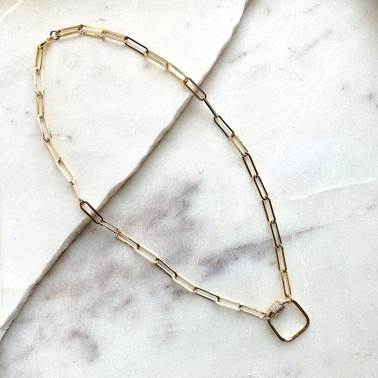 Gold Link Necklace with Crystal Accent