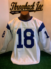 Load image into Gallery viewer, 1960's STYLE WHITE JERSEY w/ STRIPES & BLUE CREW NECK