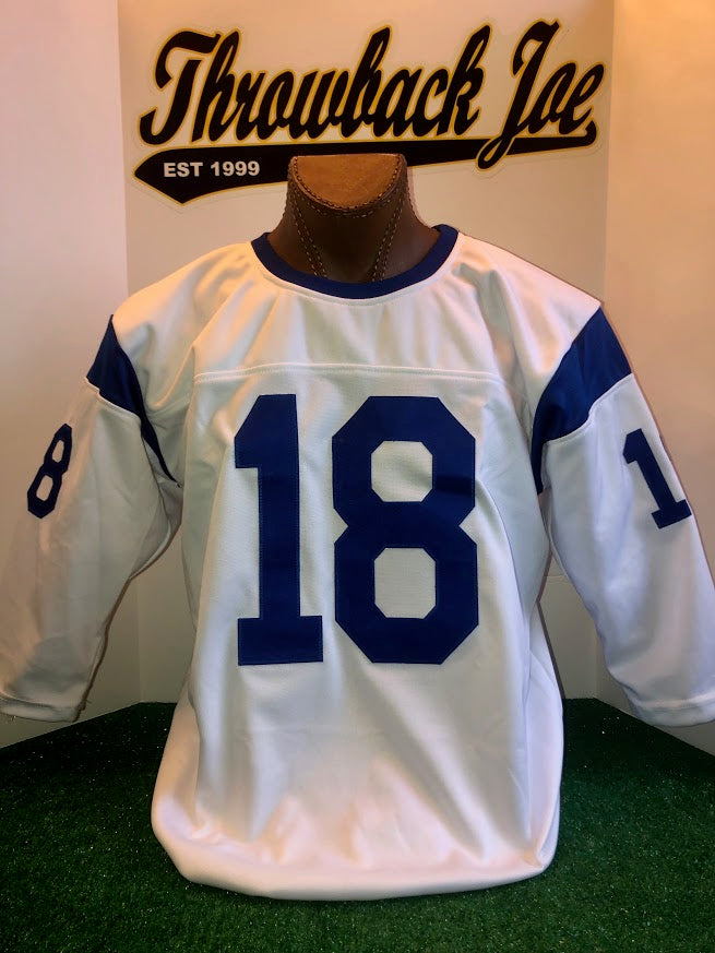 1960's STYLE WHITE JERSEY w/ STRIPES & BLUE CREW NECK