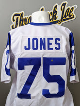 Load image into Gallery viewer, 1960's STYLE WHITE JERSEY w/ HORNS - SIZE L - JONES #75