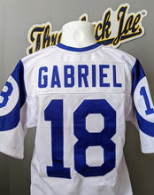 Load image into Gallery viewer, 1960's STYLE WHITE JERSEY w/ HORNS - SIZE Women's L - GABRIEL #18