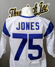 Load image into Gallery viewer, 1960's STYLE WHITE JERSEY w/ STRIPES - SIZE L - JONES #75