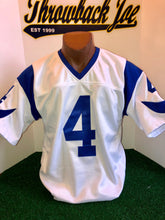 "Load image into Gallery viewer, 1960's STYLE WHITE JERSEY w/ HORNS & BLUE ""V"" NECK"