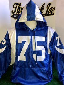 1960's STYLE ALTERNATE BLUE PULLOVER HOODIE w/ HORNS