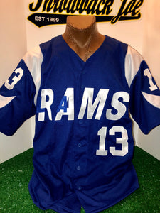 1960's STYLE BLUE BASEBALL JERSEY w/ HORNS
