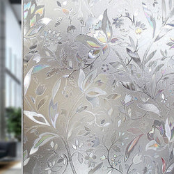 100*45cm Frosted Opaque Glass Window Film Privacy Glass Stickers Home Decor Black&white Wrought Iron Flower JSX