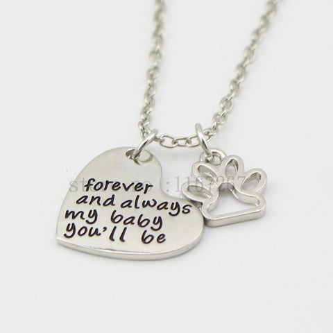 Forever and Always Heart & Paw Print Pendant Necklace