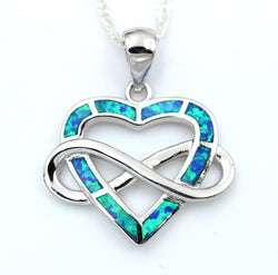 925 Sterling Silver Infinity Blue Fire Opal Heart Pendant Necklace