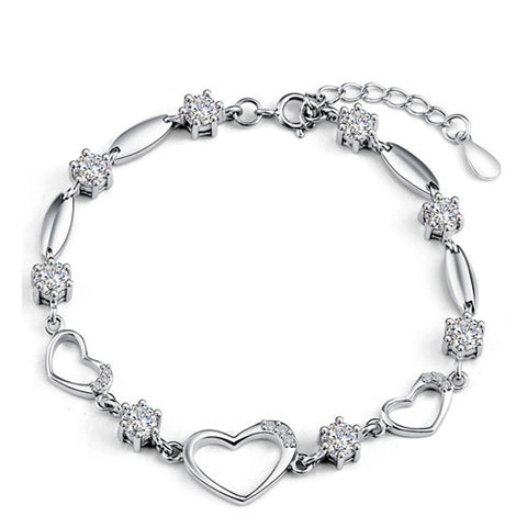 925 Sterling Silver Heart-shaped Link Bracelet